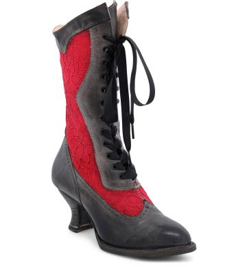 ABIGALE BLACK RUSTIC/RED LACE